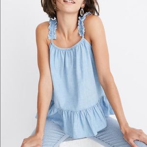 Madewell denim ruffle strap cami top size 0